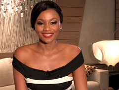 Bonang's trendy striped dress