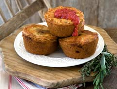 Duck pies with orange and plum chutney
