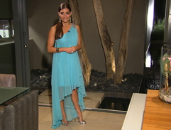 Jeannie D's asymmetrical sky blue dress