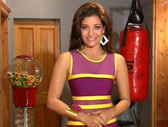 Jeannie D's bright bandage dress
