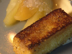 Poached apples or pears with brioche french toast and curried cream