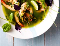 Prawns poached in Thai curry broth