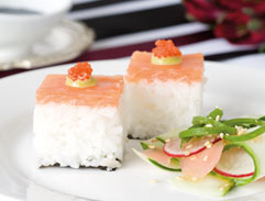 Pressed salmon trout sushi