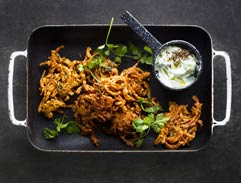 Red Onion Bhajis with Cucumber Raita