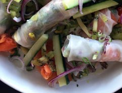 Smoked salmon trout vietnamese summer rolls