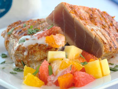 Spiced yellow fin tuna