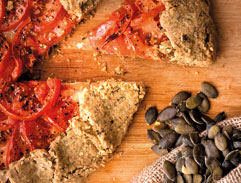 Tomato galette with pumpkin seed pastry