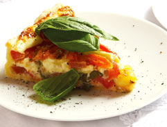 Tomato tart with basil and Emmenthaler cheese