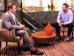 Top Billing muscles up with Arnold Schwarzenegger