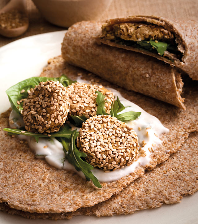 Wraps with sesame falafel and mint yogurt