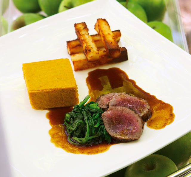 Springbok loin served with spicey butternut custard and pap chips