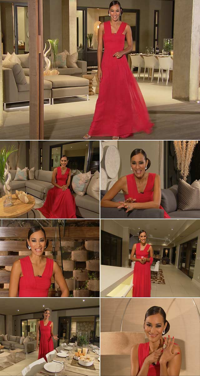 Jo-Ann wears a stunning red dress by Mari&Me