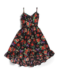 Ruffled Dress: Cotton, Frilled, Floral, High-Low Hem