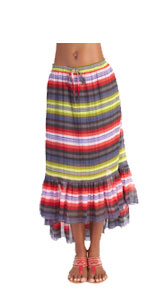 Skirt: Mexican Stripe, High-Low Frilled Hem